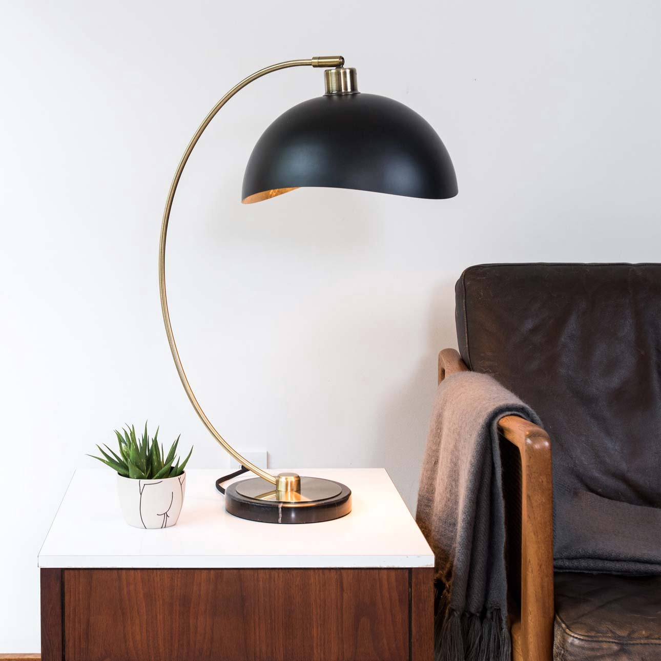 Luna Bella Table Lamp, Weathered Brass