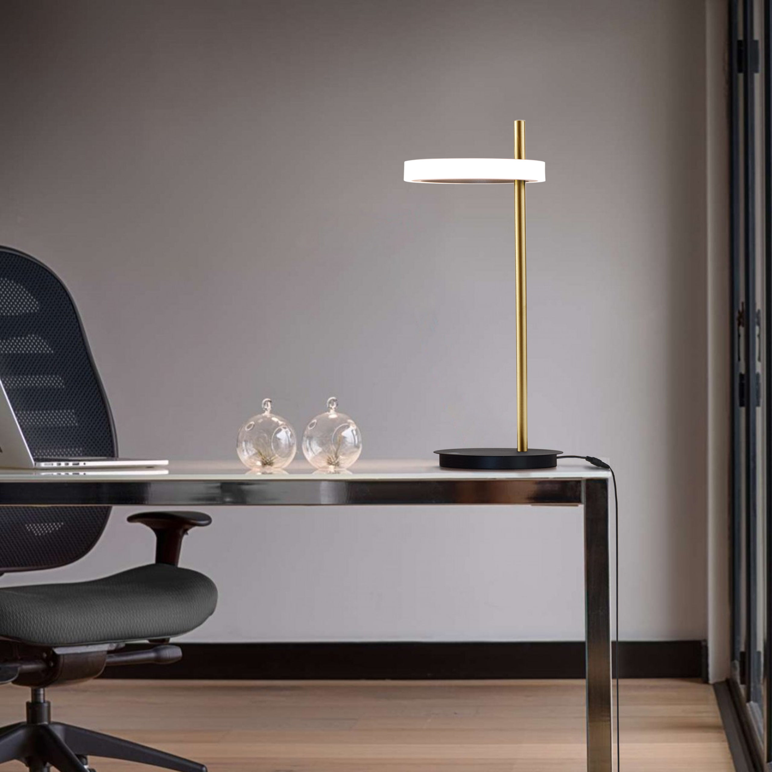 Aerial Table Lamp, Weathered Brass