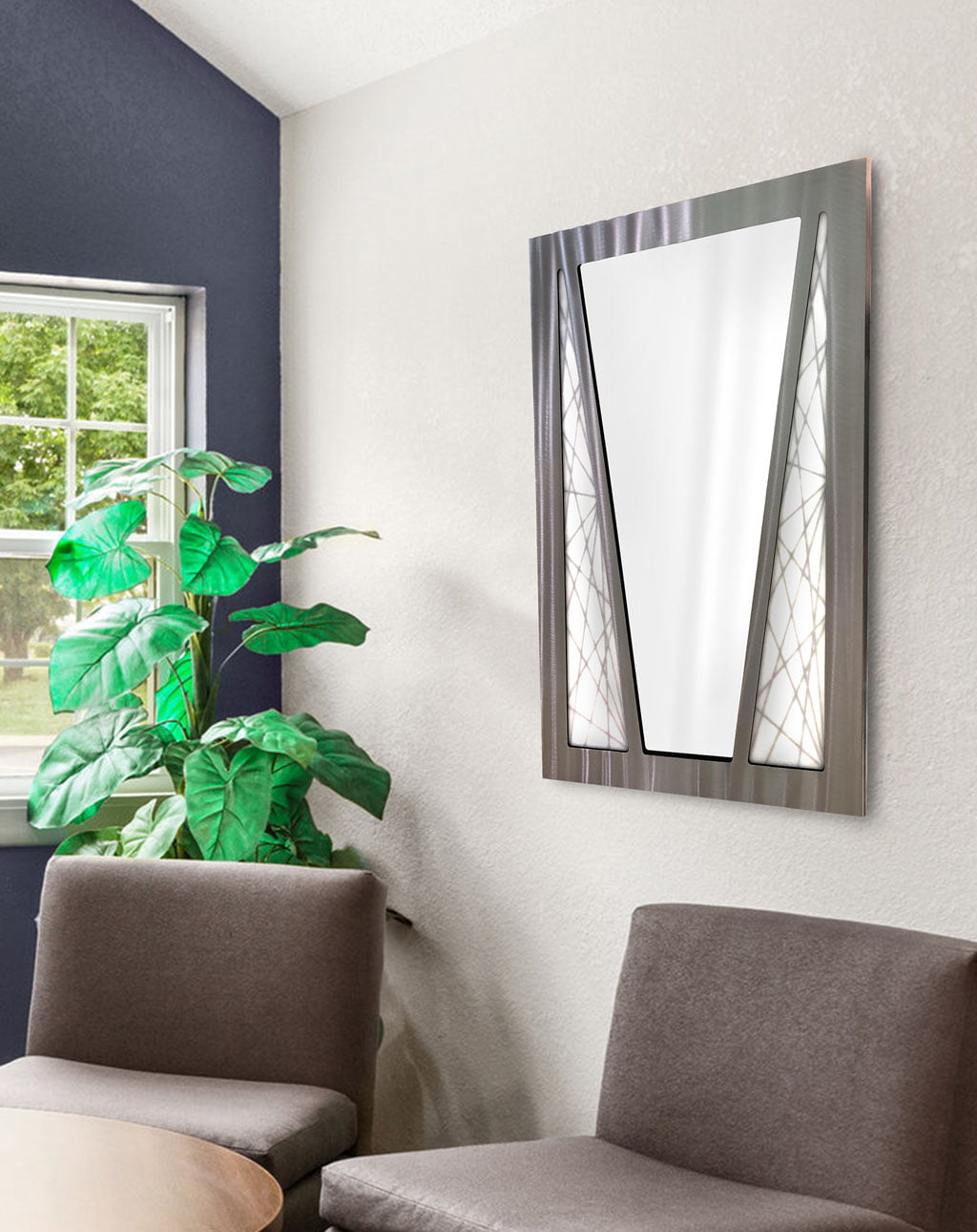 String Theory Mirror, Brushed Aluminum