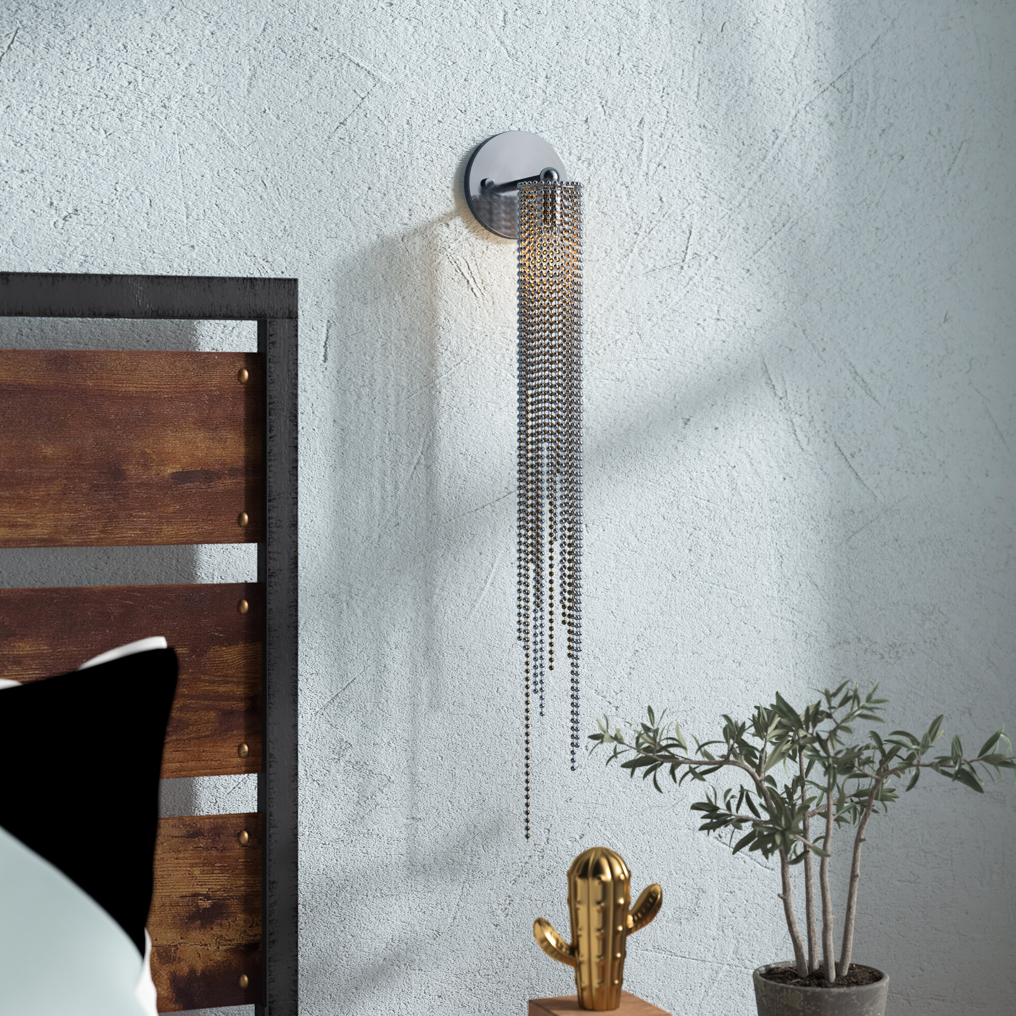 Bead Sconce, Brushed Nickel
