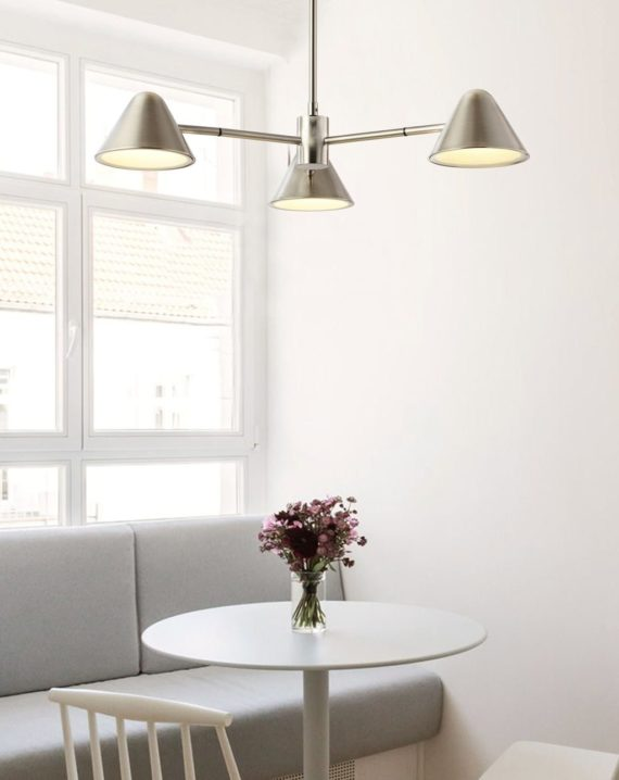 Cove 3-Light Chandelier Satin Nickel Lifestyle 2