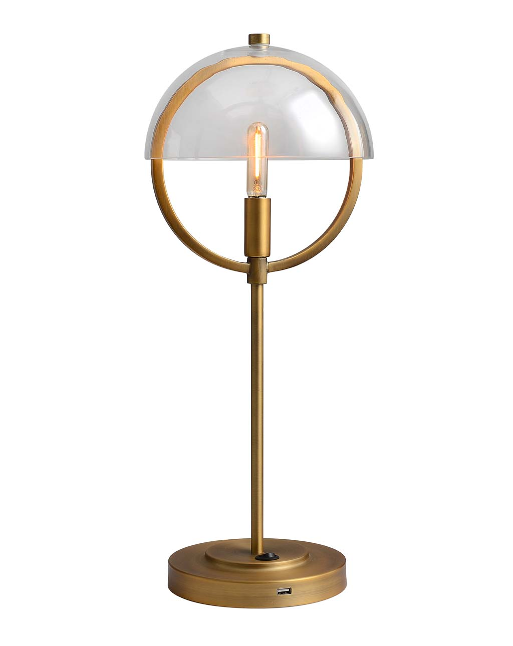 Saturnia Table Lamp, Brass with Clear Glass