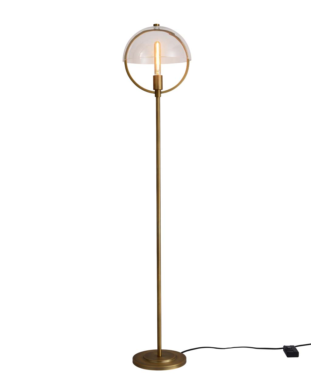 Saturnia Floor Lamp, Brass With Clear Glass