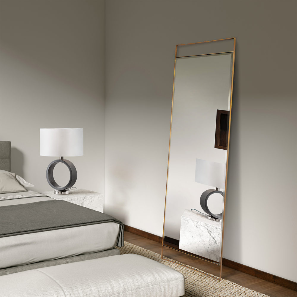Ventura Modern Leaner Mirror, Brushed Brass